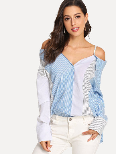 Striped Colorblock Cami Blouse