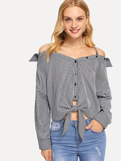 Cold Shoulder Knot Button Striped Top