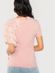 One Side Layered Ruffle Top