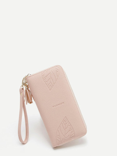 Tassel Detail Zipper Around Wallet