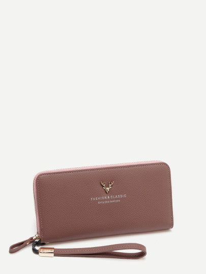 Letter Print Zipper Around Wallet