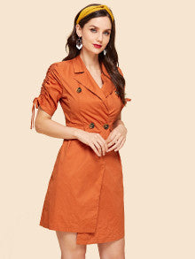 Drawstring Sleeve Button Up Dress