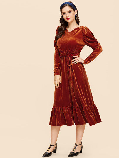 Ruffle Hem Puff Sleeve Belted Dress