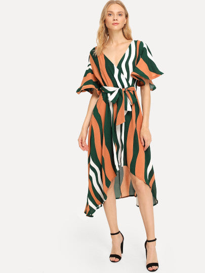 Bell Sleeve Surplice Wrap Striped Dress
