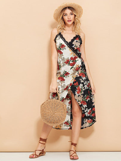 Lace Trim Floral Print Cami Dress