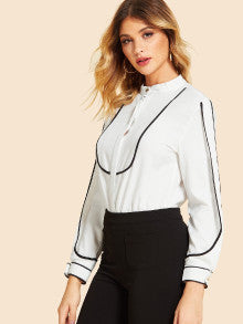 Contrast Trim Split Sleeve Blouse