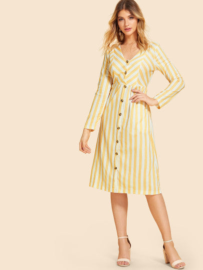 Button Decoration Striped Dress