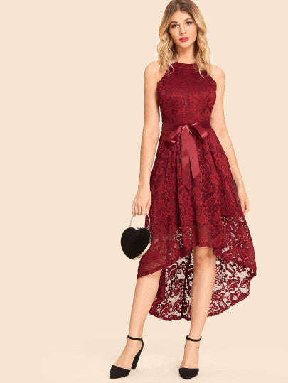 Solid Halter Asymmetric Hem Lace Dress