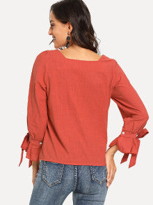 Knot Detail Cuff Solid Blouse