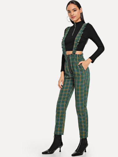 Zip Front Plaid Jumpsuit
