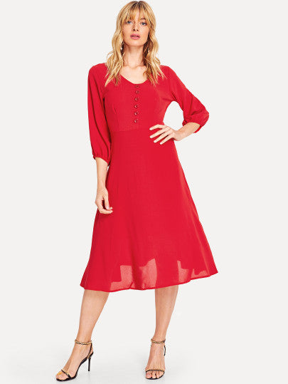 Solid Bishop Sleeve Dress