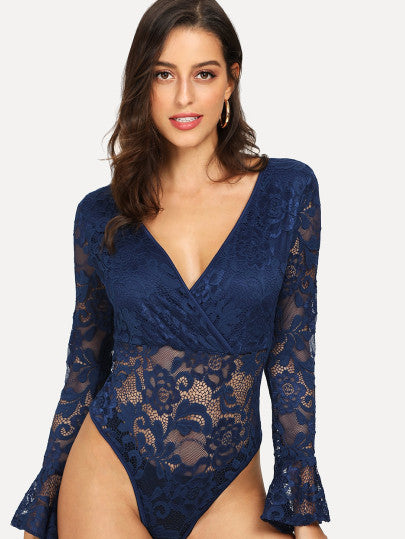 Lace Panel Solid Bodysuit