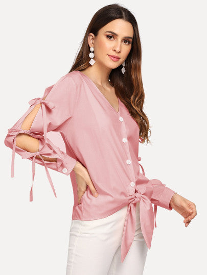 Solid Knot Blouse