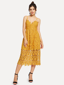 Guipure Lace Overlay Cami Dress