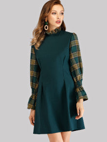 Plaid Panel Zip Back Dress