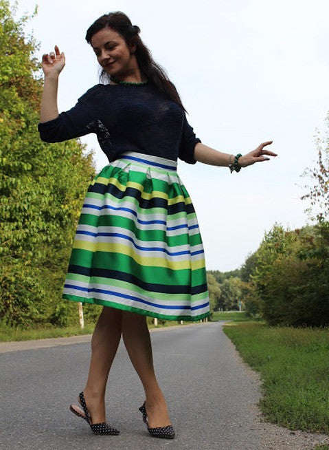 NAUTICAL STRIPED FLARE SKIRT RZX - The Style Syndrome  - 1