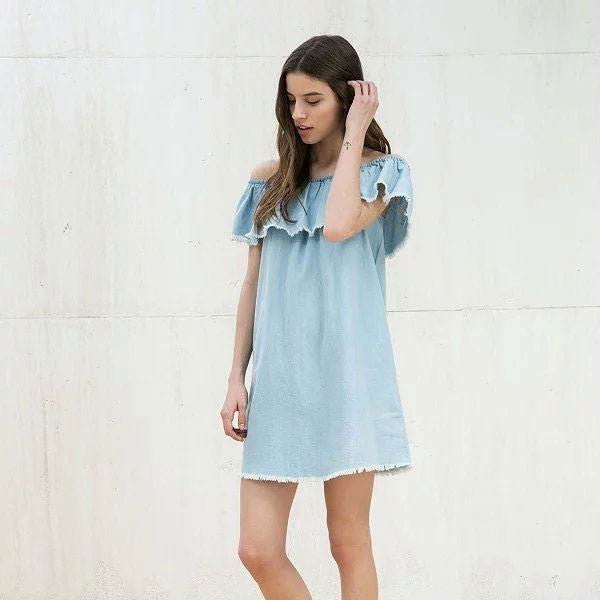 Slash Neck Print Above Knee Short Sleeve A-Line Dress - The Style Syndrome  - 1