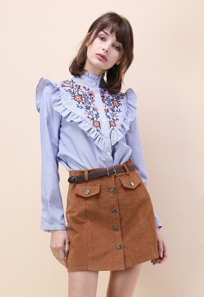 RZX  Blue Vertical Striped Flower Embroidered Ruffle Shirt
