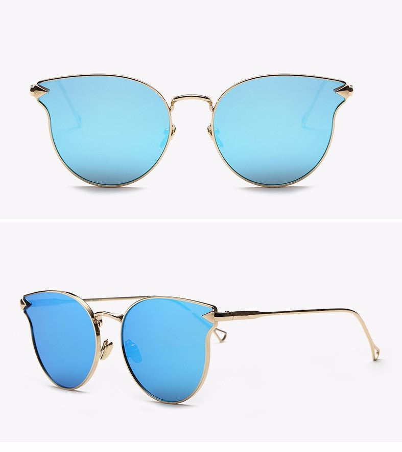 RZX Arrow Cat Eye Metal Frame Sunglasses-BLUE - The Style Syndrome  - 1