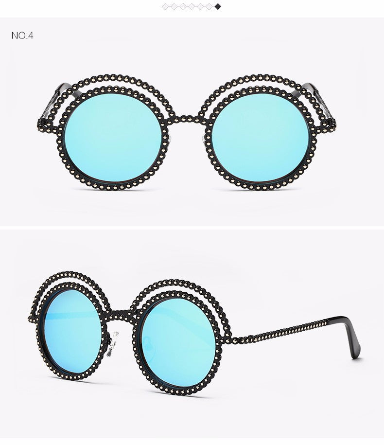 Metal Beaded Frame Round Grey Lenses Sunglasses - The Style Syndrome  - 7