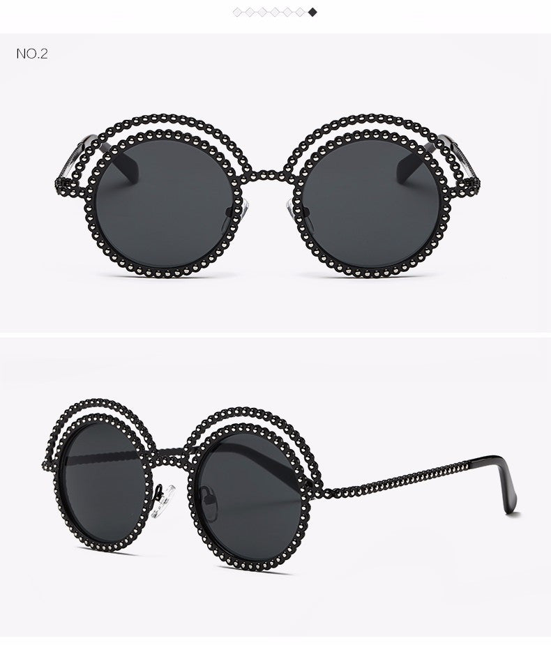 Metal Beaded Frame Round Grey Lenses Sunglasses - The Style Syndrome  - 5