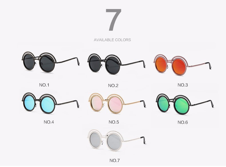 Metal Beaded Frame Round Grey Lenses Sunglasses - The Style Syndrome  - 3