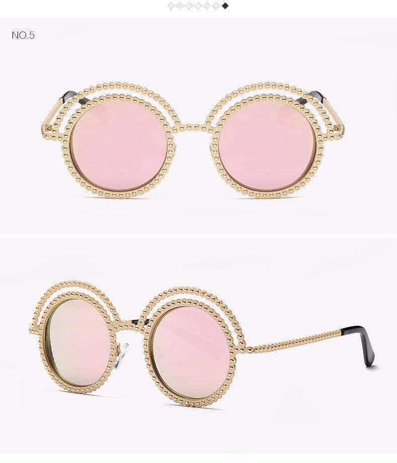 Metal Beaded Frame Round Grey Lenses Sunglasses - The Style Syndrome  - 8