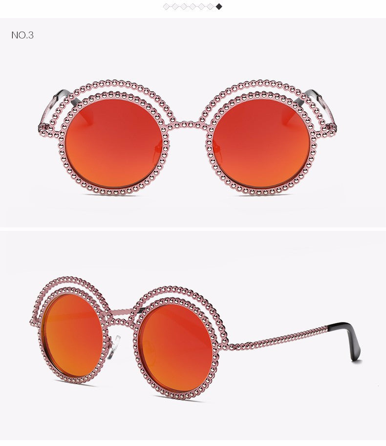 Metal Beaded Frame Round Grey Lenses Sunglasses - The Style Syndrome  - 6