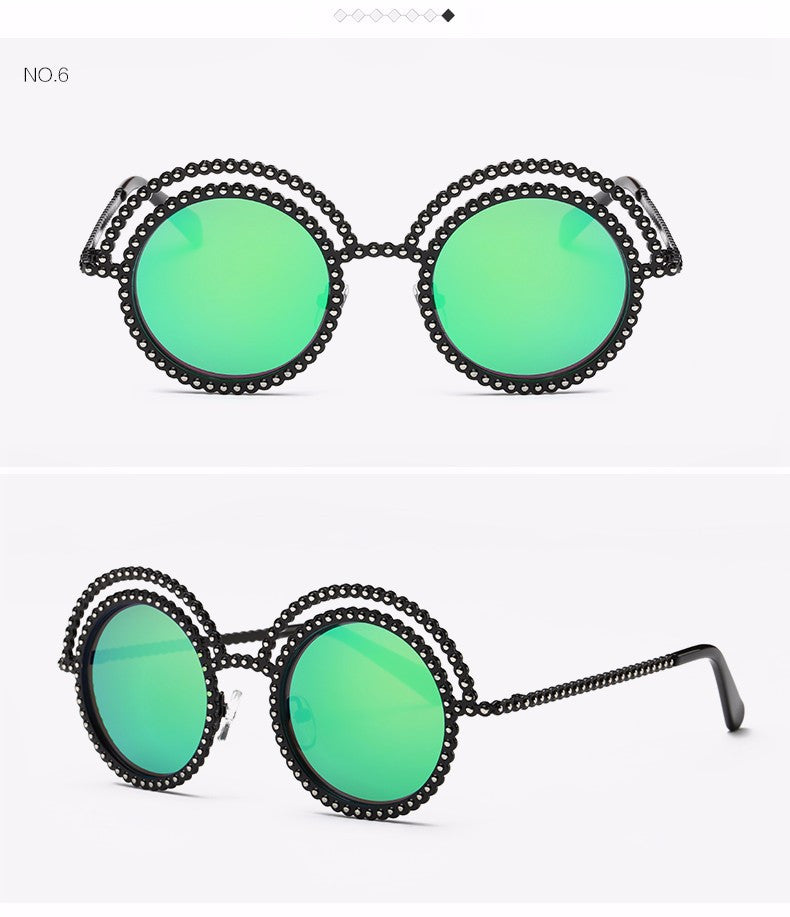 Metal Beaded Frame Round Grey Lenses Sunglasses - The Style Syndrome  - 9