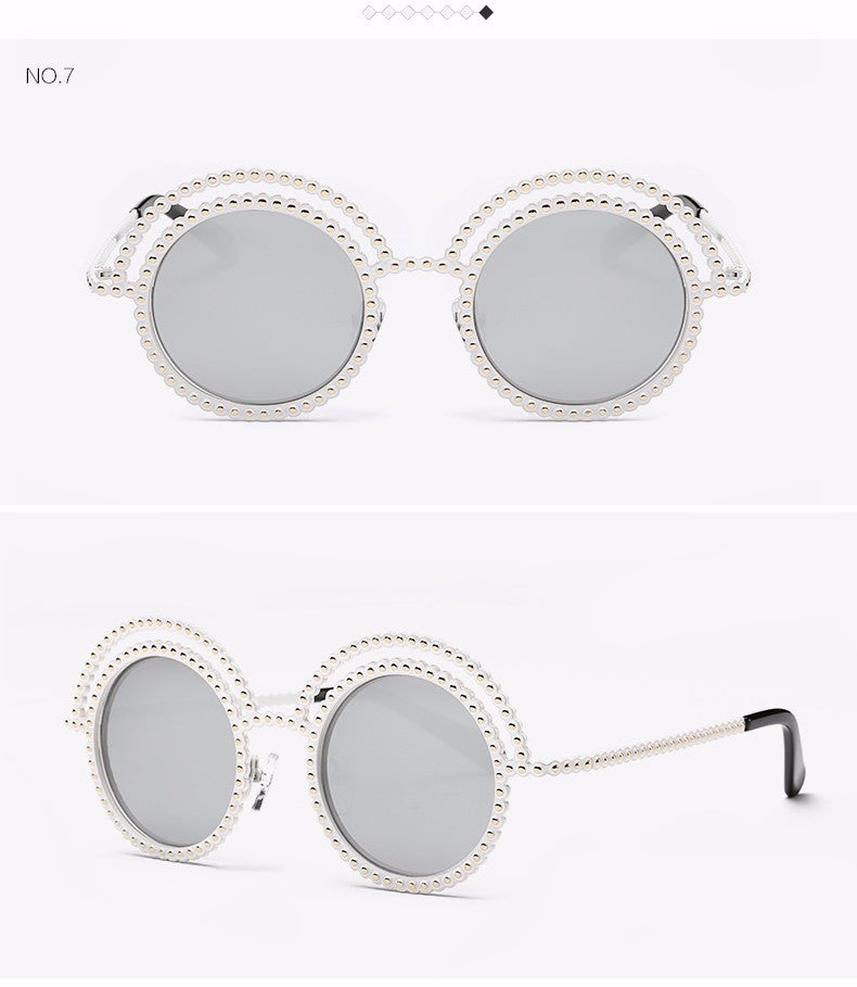 Metal Beaded Frame Round Grey Lenses Sunglasses - The Style Syndrome  - 10