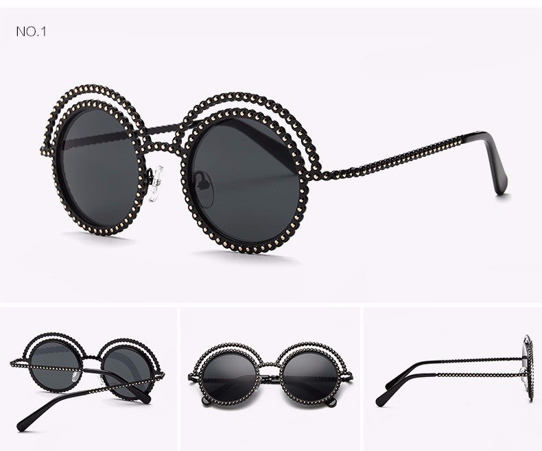 Metal Beaded Frame Round Grey Lenses Sunglasses - The Style Syndrome  - 4