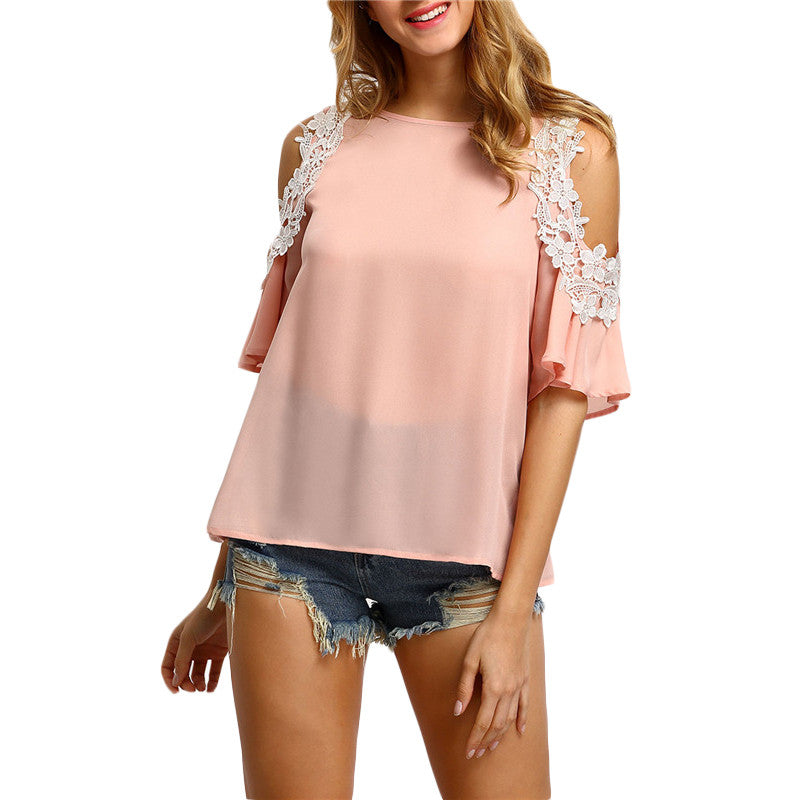 Pink Cold Shoulder Crochet Trim Blouse - The Style Syndrome  - 1