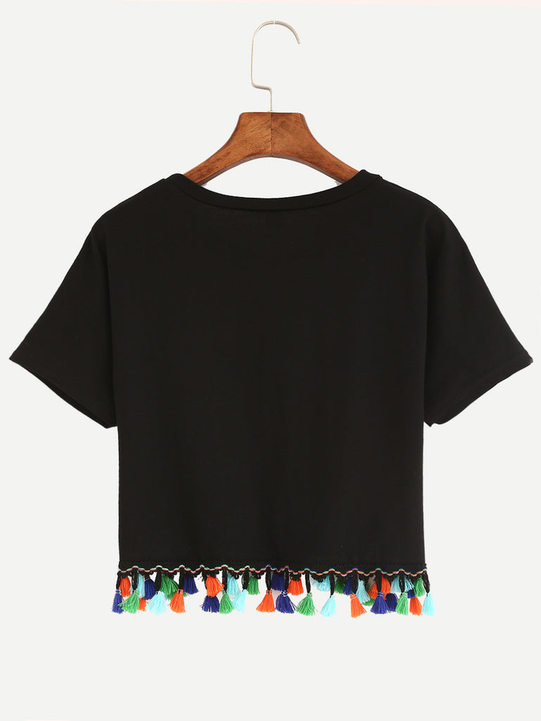 Tassel Trimmed Crop T-shirt - Black - The Style Syndrome  - 2