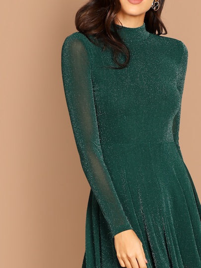 Mock Neck Glitter Fit & Flare Dress