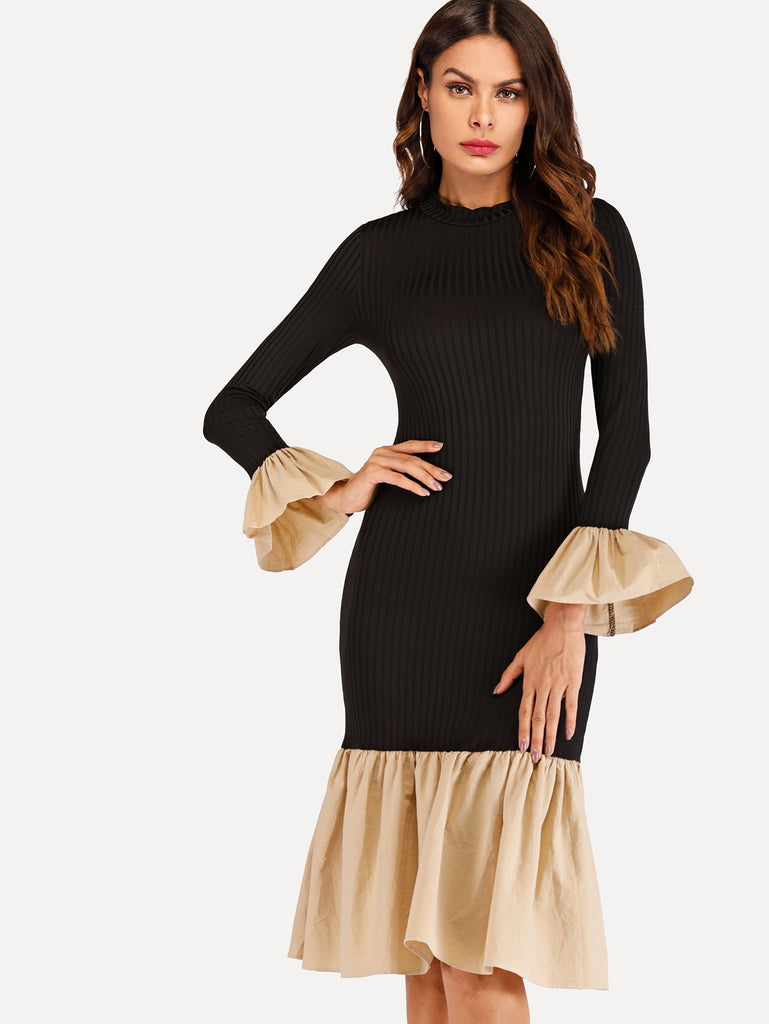 Contrast Ruffle Hem Knit Dress