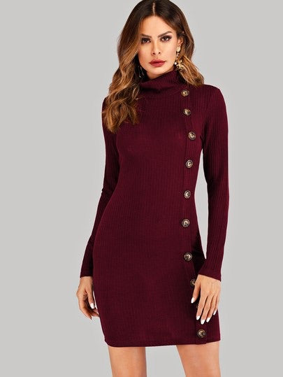 Button Front Knit Dress