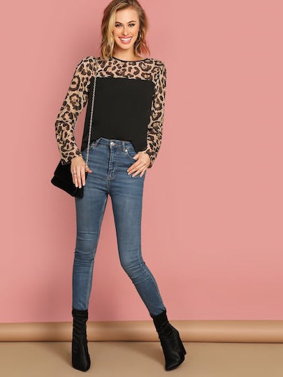Semi Sheer Leopard Yoke Top