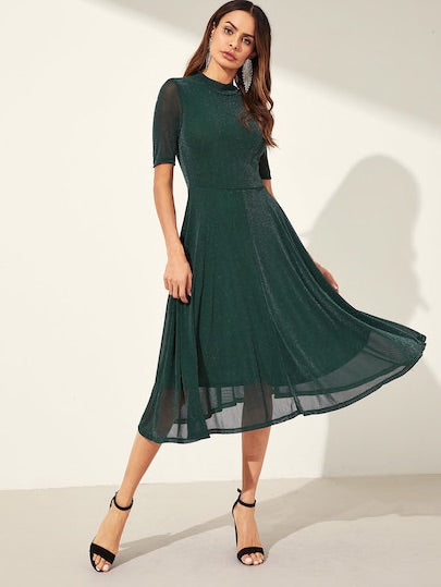 Mock-Neck Fit & Flare Glitter Dress