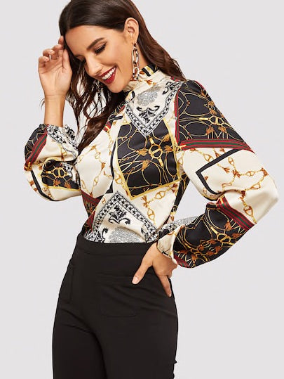 Frilled Neck Retro Print Top