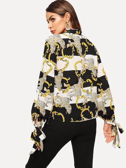 Tied Neck Mixed Print Knotted Sleeve Top