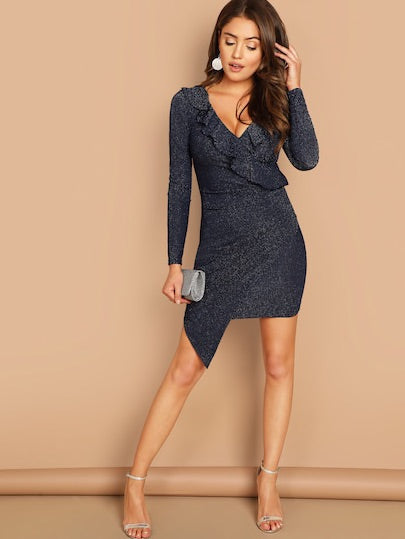 Flounce Trim Ruched Wrap Glitter Dress