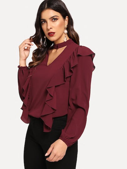 Ruffle Detail Open Front Solid Top
