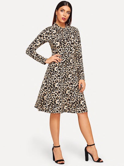 Tie Neck Cheetah Print Dress