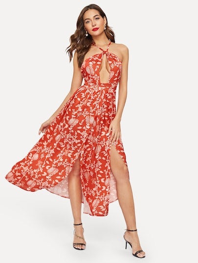 Cut Out Floral Print Halter Dress