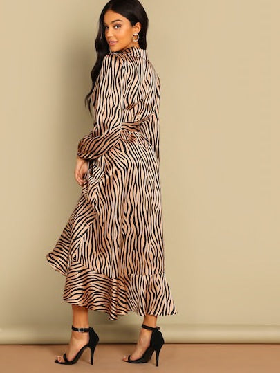Shawl Collar Surplice Wrap Flounce Zebra Dress
