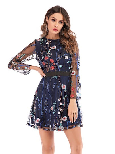 Floral Embroidery Mesh Overlay Dress