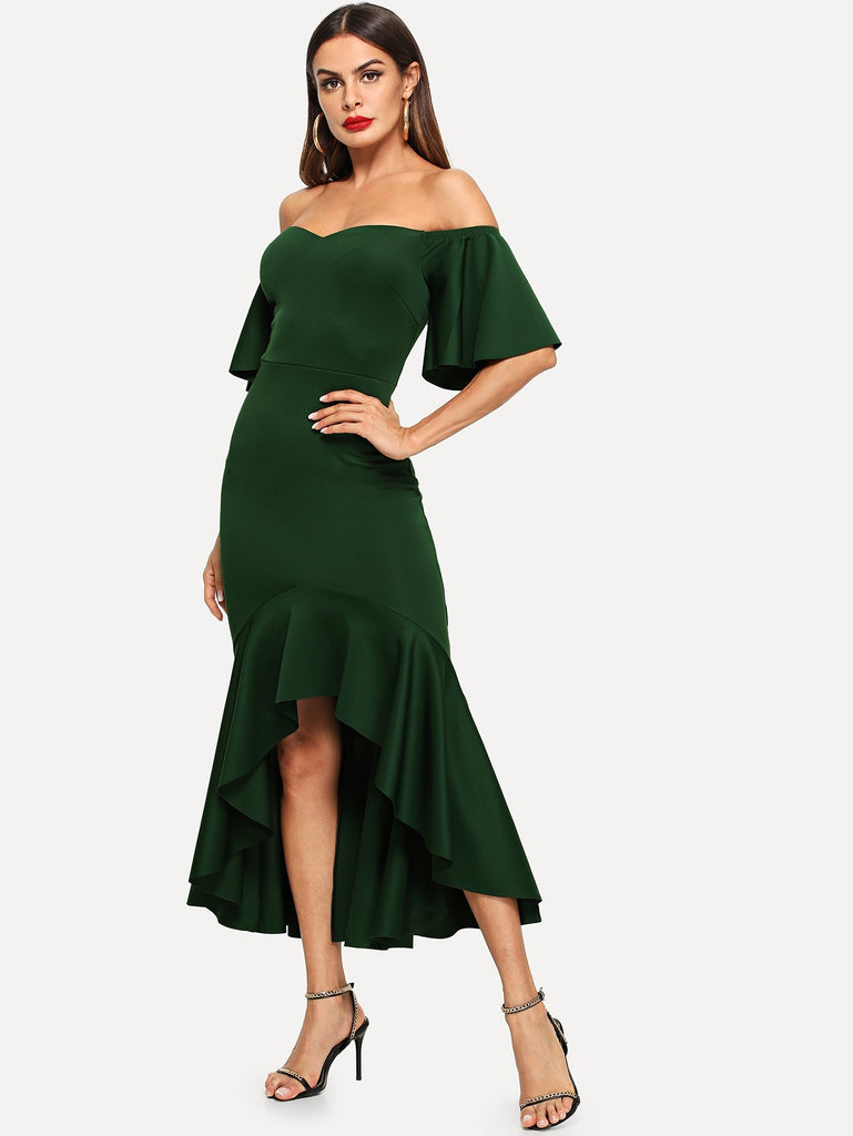 Bell Sleeve Ruffle Hem High Low Bardot Dress