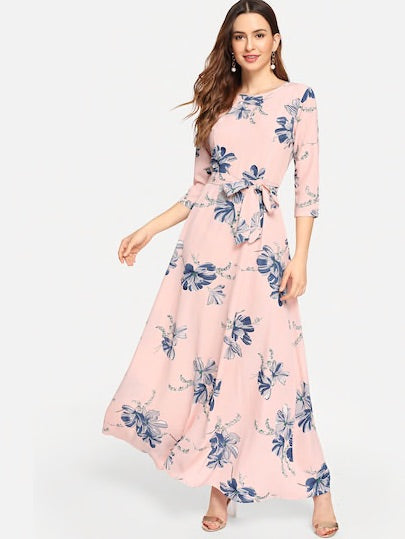 Floral Print Self Tie Waist Maxi Dress