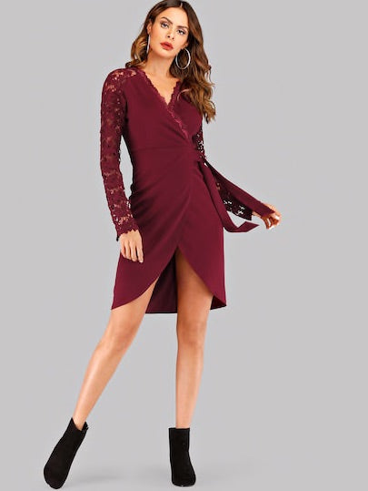 Contrast Lace Surplice Front Dress