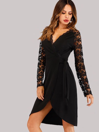 Contrast Lace Wrap Dress